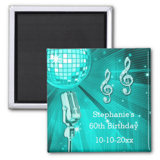 Teal Disco Ball and Retro Microphone 60th Birthday Square Magnet