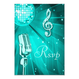 Teal Disco Ball & Retro Microphone RSVP 9 Cm X 13 Cm Invitation Card