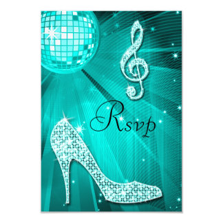 Teal Disco Ball Sparkle Heels RSVP 9 Cm X 13 Cm Invitation Card