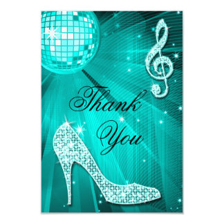 Teal Disco Ball Sparkle Heels Thank You 9 Cm X 13 Cm Invitation Card