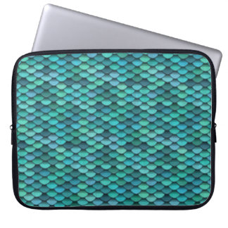 Teal Dragon Scale Blue Green Computer Sleeve