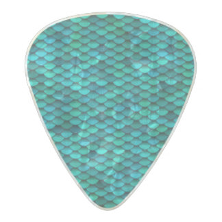 Teal Dragon Scale Blue Green Discs Pearl Celluloid Guitar Pick