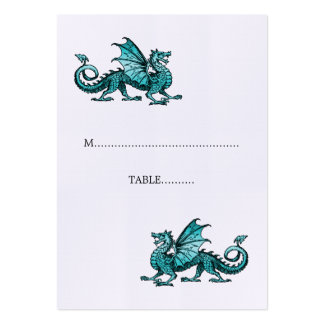 Teal Dragon Wedding Place Card Pack Of Chubby Business Cards