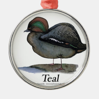 Teal duck, tony fernandes christmas ornament