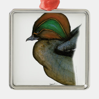 teal duck, tony fernandes Silver-Colored square decoration