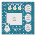 Teal Easter Bunny Scrapbook Page Poster