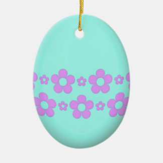 Teal Easter Egg With Flowers Christmas Ornament