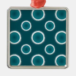 Teal Eclipse Silver-Colored Square Decoration