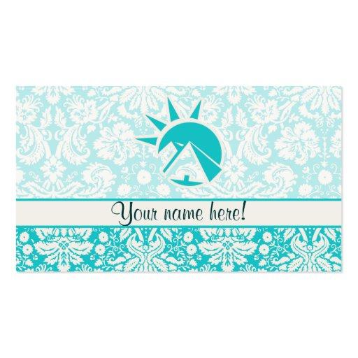 Teal Egyptian Pyramid Business Card Template