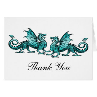 Teal Elegant Dragons Thank You Card