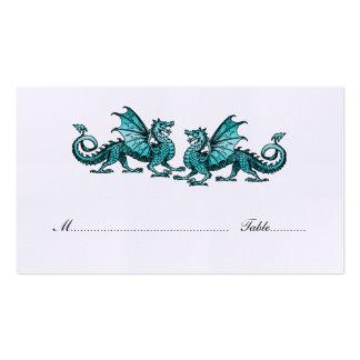 Teal Elegant Dragons Wedding Place Card Pack Of Standard Business Cards