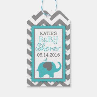 Teal Elephant Boy Bird Chevron Baby Shower Gift Tags