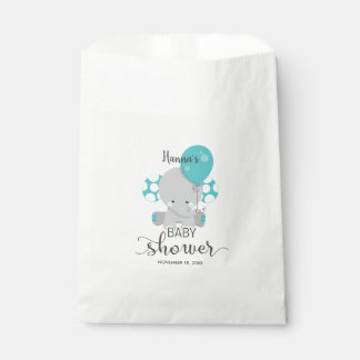 Teal Elephant Gender Neutral Baby Shower Thank You Favour Bags