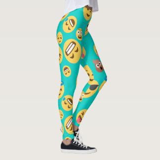 Teal Emojis Patterned Leggings