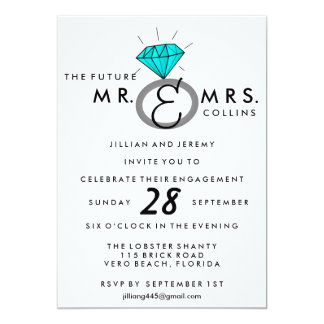Teal Engagement Ring Party Invitations