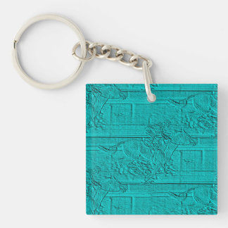 Teal Etched Look Horse Racing Silhouette Double-Sided Square Acrylic Key Ring