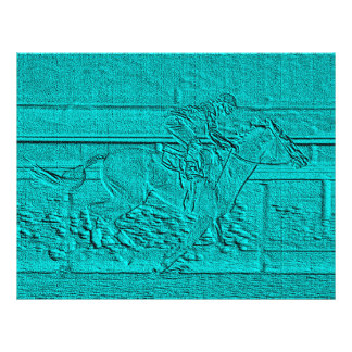 """Teal Etched Look Horse Racing Silhouette 8.5"""" X 11"""" Flyer"""
