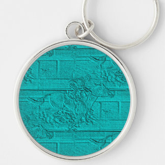 Teal Etched Look Horse Racing Silhouette Silver-Colored Round Key Ring