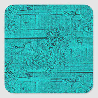 Teal Etched Look Horse Racing Silhouette Square Sticker