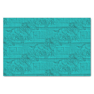 Teal Etched Look Horse Racing Silhouette Tissue Paper