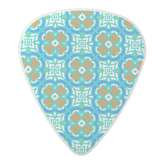 Teal Ethnic Pattern Acetal Guitar Pick