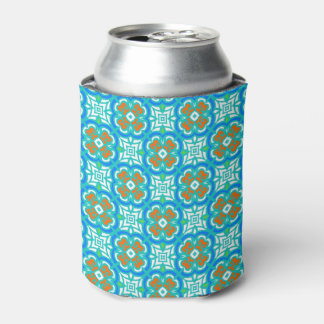 Teal Ethnic Pattern Can Cooler