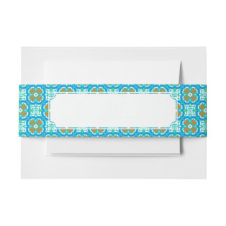 Teal Ethnic Pattern Invitation Belly Band