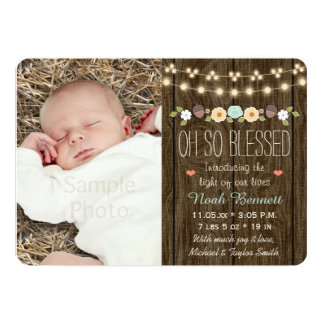 Teal Fall Rustic String of Light Baby Announcement
