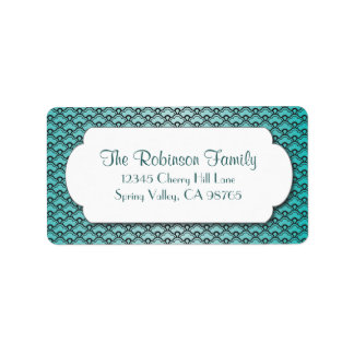 Teal Fan Pattern with White Frame Address Label