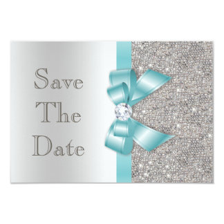 Teal Faux Bow & Diamonds Silver Save The Date 9 Cm X 13 Cm Invitation Card