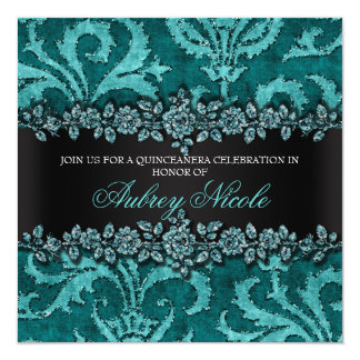 Teal Faux Glitter & Velvet Floral Quinceanera 13 Cm X 13 Cm Square Invitation Card
