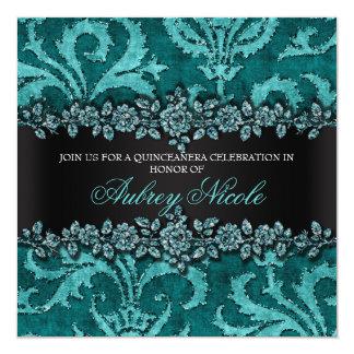 Teal Faux Glitter & Velvet Floral Quinceanera Card