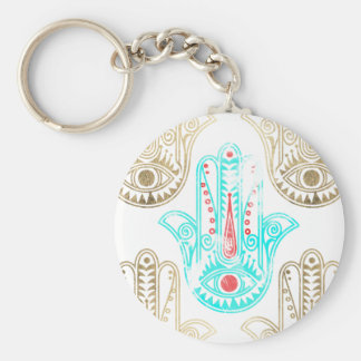 Teal faux gold watercolor Hamsa Hand of Fatima Key Ring