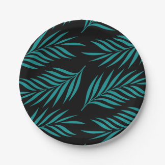Teal Fern Paper Plates 7 Inch Paper Plate