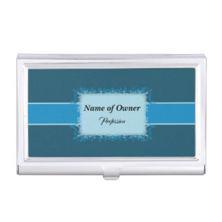 Teal Filigree Business Card Holder