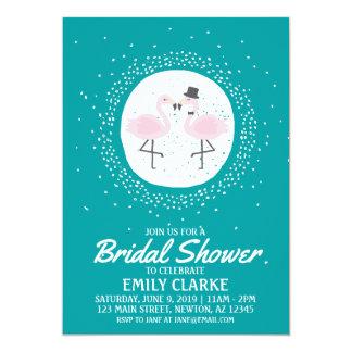 Teal Flamingo Bride & Groom Invitation (any event)