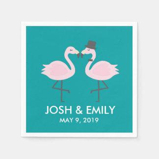 Teal Flamingo Wedding Bride & Groom Pair Disposable Serviette