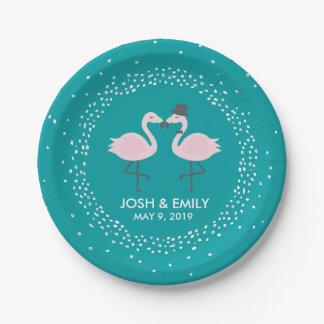 Teal Flamingo Wedding Bride & Groom Pair Paper Plate