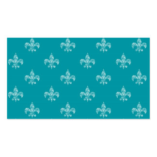 Teal Fleur de Lis Double-Sided Standard Business Cards (Pack Of 100)