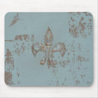 Teal Fleur De lis Mouse Pad