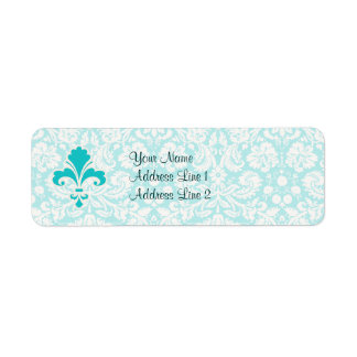 Teal Fleur de lis Return Address Label