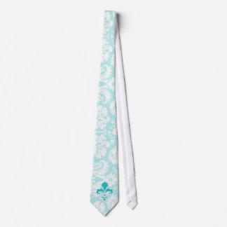 Teal Fleur de lis Tie