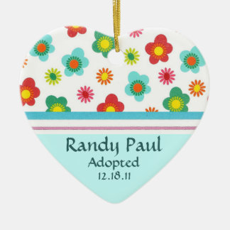 Teal Floral Adoption Announcement Ornament