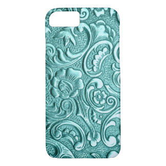 Teal floral embossed I Phone. iPhone 8/7 Case