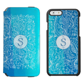 Teal Floral Monogram Incipio iPhone 6 wallet case Incipio Watson™ iPhone 6 Wallet Case