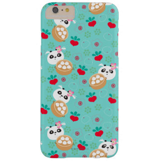 Teal Floral Panda Dumpling Pattern Barely There iPhone 6 Plus Case