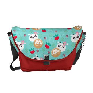 Teal Floral Panda Dumpling Pattern Courier Bag