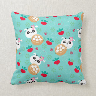 Teal Floral Panda Dumpling Pattern Cushion