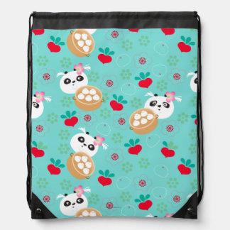 Teal Floral Panda Dumpling Pattern Drawstring Bag