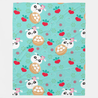 Teal Floral Panda Dumpling Pattern Fleece Blanket